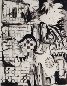 untitled 2019, acrylics crayon on canvas, 140 x 110 cm