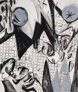 untitled 2019, acrylics crayon on canvas, 160 x 135 cm